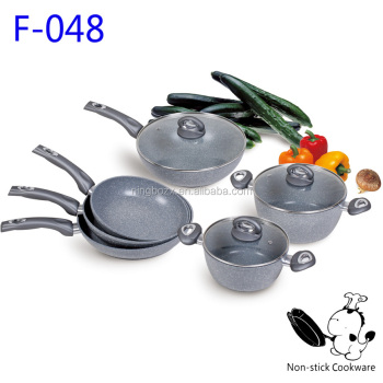 Forged aluminum grey stone coated cookware set nonstick granite marble frying pan