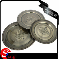 Vietnam style stainless steel serving dish, large round copper serving tray