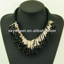 black bead bijuteria necklace high fashion jewelry black hills fashion SWTN865