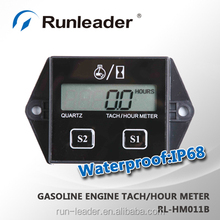 Resettable inductive tach/hour meter can set 2 or 4 stroke