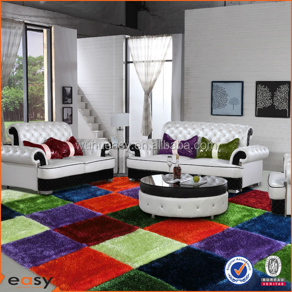 Colorful multi square design 3D thick tile shag carpet