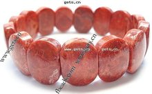 Natural Red Coral Bracelet, Oval beads, red color, elastic, 20x14mm, Sold per 7.5-Inch Strand