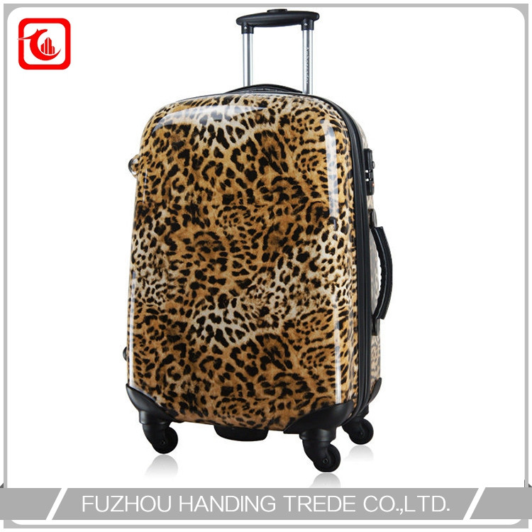 ABS pc bag yellow leopard luggage set , beautiful design luggage set