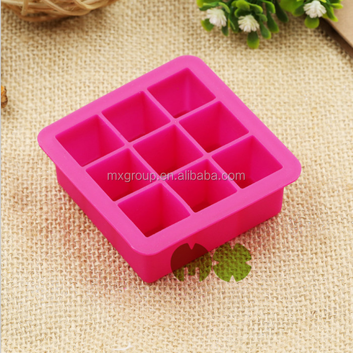Custom design 9 cavity square shape silicone Ice cube tray,rectangle ice cube mould,BPA free summer season ice cube mould
