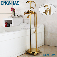 Gold plated clawfoot free standing galaxy shower bath
