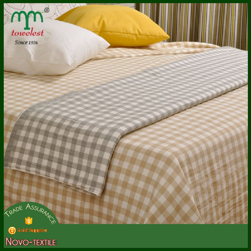 2016 New Product 100% Cotton Bed Sheet 71''x 90.5'' Small Checks China Wholesale