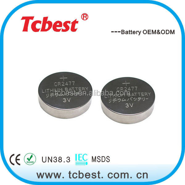 with ROHS CE 3v rechargeable lithium battery cr2477