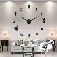 MAX3 New Design charming cat for Home decora Black/ Luxury Silver EVA/ mirror Wall Clock 3d diy wall sticker clock