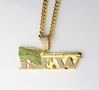 Fashion Jewelry Custom Necklace Designs Hip Hop Jewelry Gold Logo Necklace Pendant