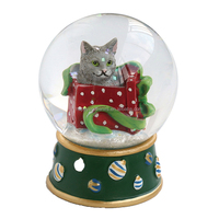 Christmas cat cute toy crystal snow ball water glass snow globe