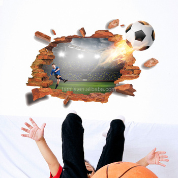 3D Background Removable Football Wall Stickers Living Room Decoration