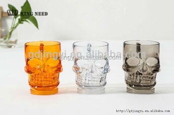 Acrylic Halloween LED light up party decoration skull plastic cup for sale