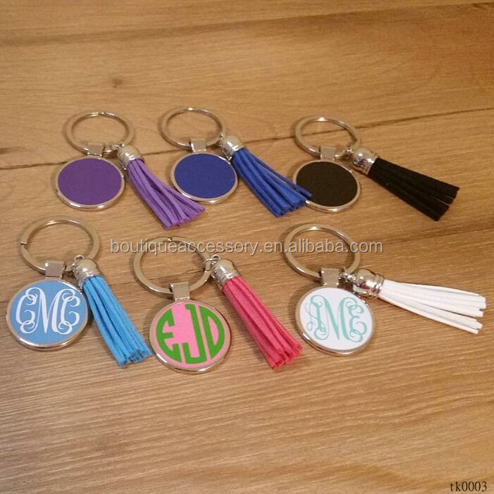 Personalized Customized Match Enamel Suede Tassel Monogram Initial Disc Keychains