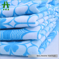 Mulinsen Textile White And Blue Flower Patterned Baby Printed Jersey Knit Fabric