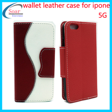 2015 New style wallet leather case for iphone 5G,flipcover for iphone 5G,Smartphone case for iphone 5G
