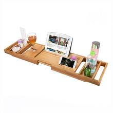 Natural Bamboo Multi-purpose Bath Tub Tray Bath Caddy with Slip-Resistant Base