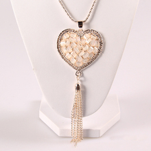 Fashion women jewelry gold tassel cat eye heart pendant long chain <strong>necklace</strong>