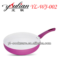 Hot sale high quality purple Aluminum Non-stick Ceramic Wok with silicone coated handle
