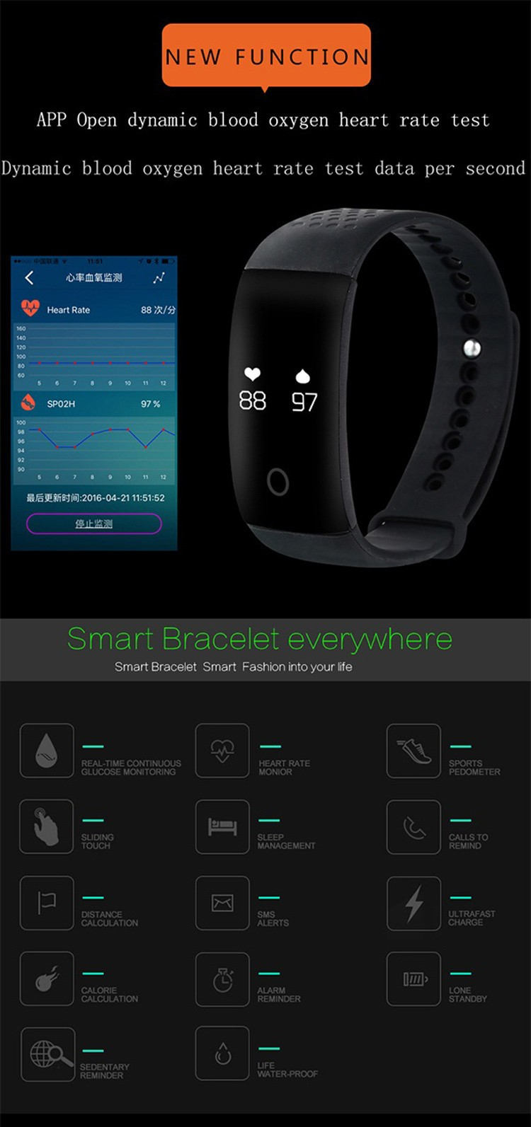 Blood oxygen smart bracelet heart rate monitor wristband activity fitness tracker band for IOS and Android