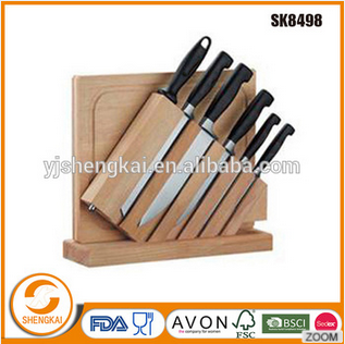 Stainless steel wood handle kitchen knives set with stand and scissor