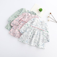 S33517W Cute Floral Printed Baby Girls Dresses Spring Autumn Long Sleeve Bow Princess Dress