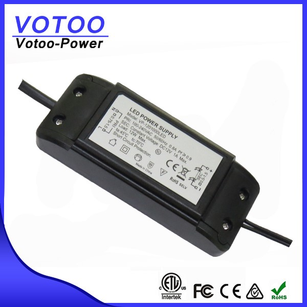 CE ETL ROHS certified 25w 12v ac to dc constant volt led driver