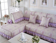 Elegant Lace Lavender Quilted sofa covers, Sofa Furniture Protector, protective sofa covers