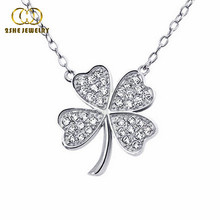 Wholesale jewelry 925 sterling silver four leaf clover necklace