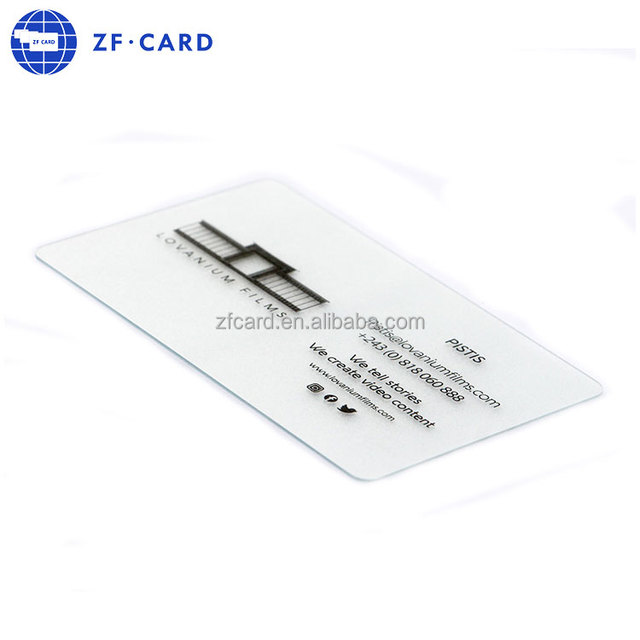 Frosted finish lamination transparent pvc business cards