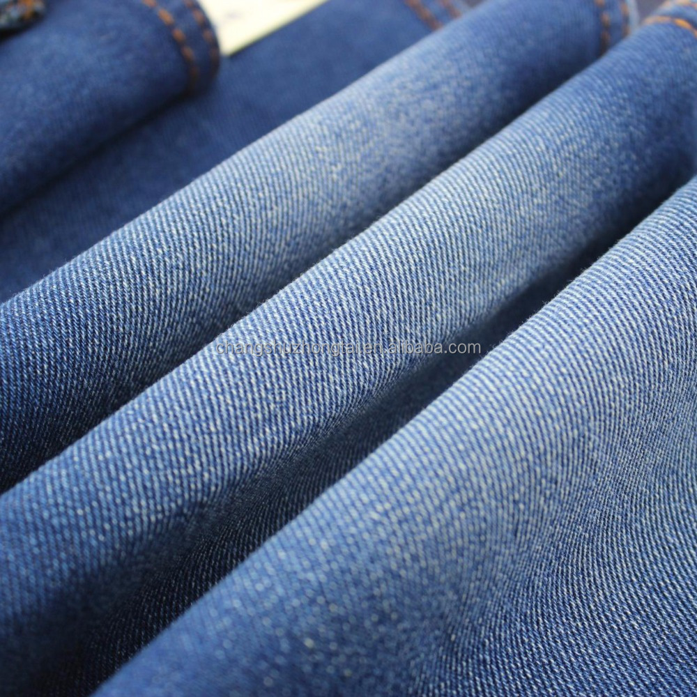 Factory low prices indigo knitted denim jeans twill woven fabric