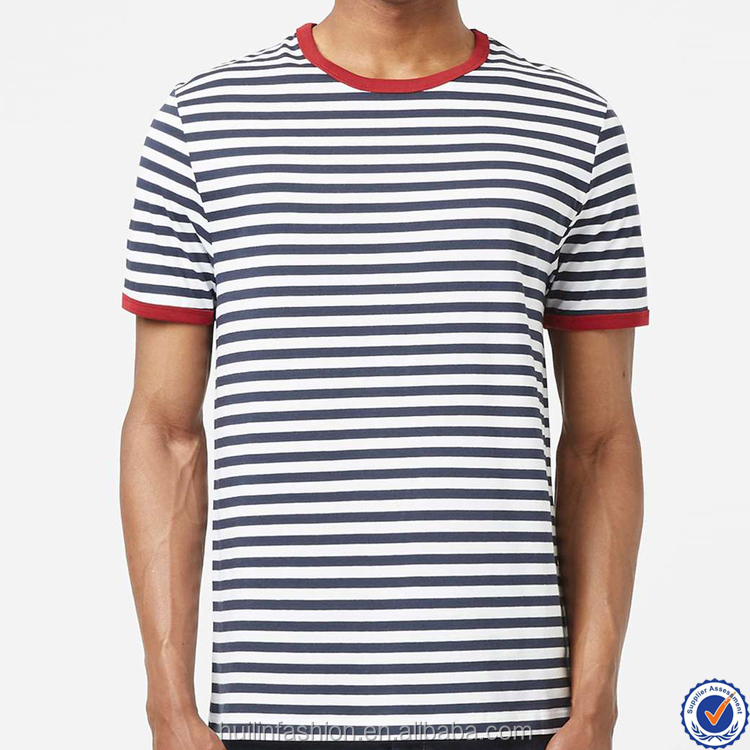 china new style fashion blue and white stripe mens t-shirt online shopping