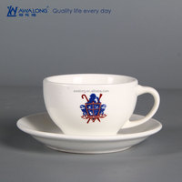 220ml Pure White Name Customized Antique Coffee Cups And Saucers Set, Modern Turkish Coffee Cups