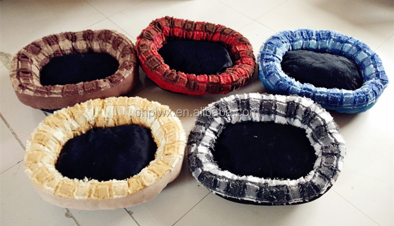 Cute Imitation linen Plaid style dog bed pets dog products