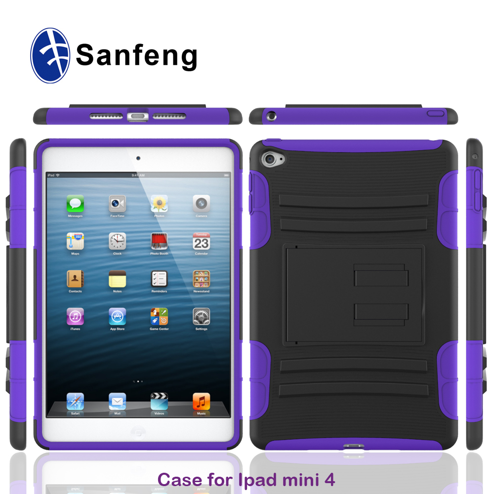 China supplier mobile phone accessory For ipad mini 4 smart cover plastic case inner with soft silicone