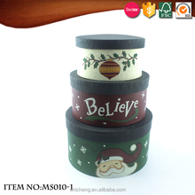 Round Hand Painted Christmas Paper Gift Box