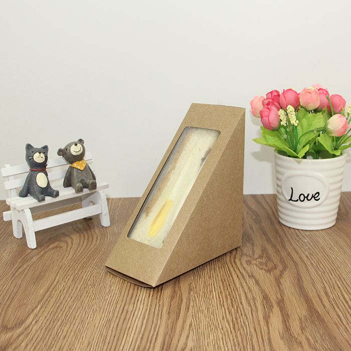 triangle sandwich box with window for cake shop