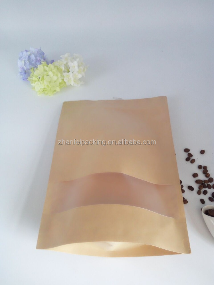 hot sales kraft paper bag with window / aluminum for coffee beans candy tea nuts food bag packing