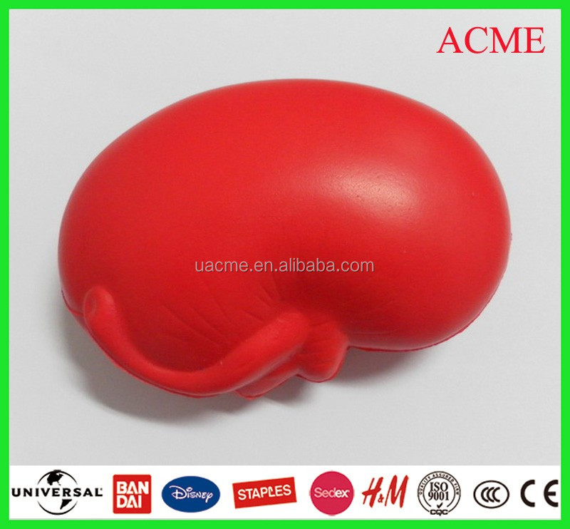 PU orange red yellow kidney stress ball for medical drugstore/hospital use