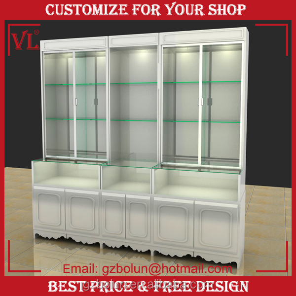 VL Modern retail store floor standing wall wood design glass showcase/glass display showcase
