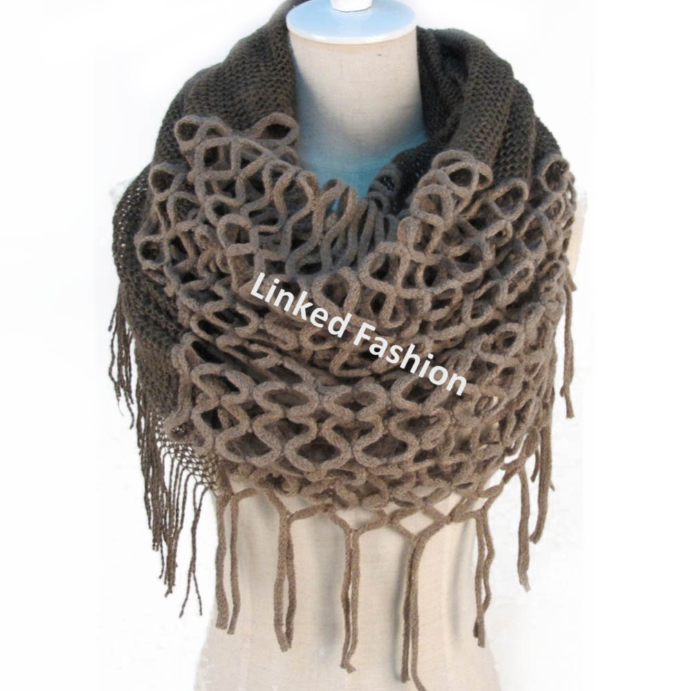 Warm handmade Crochet Hand Knitted Fringe Loop Scarf/Wrap
