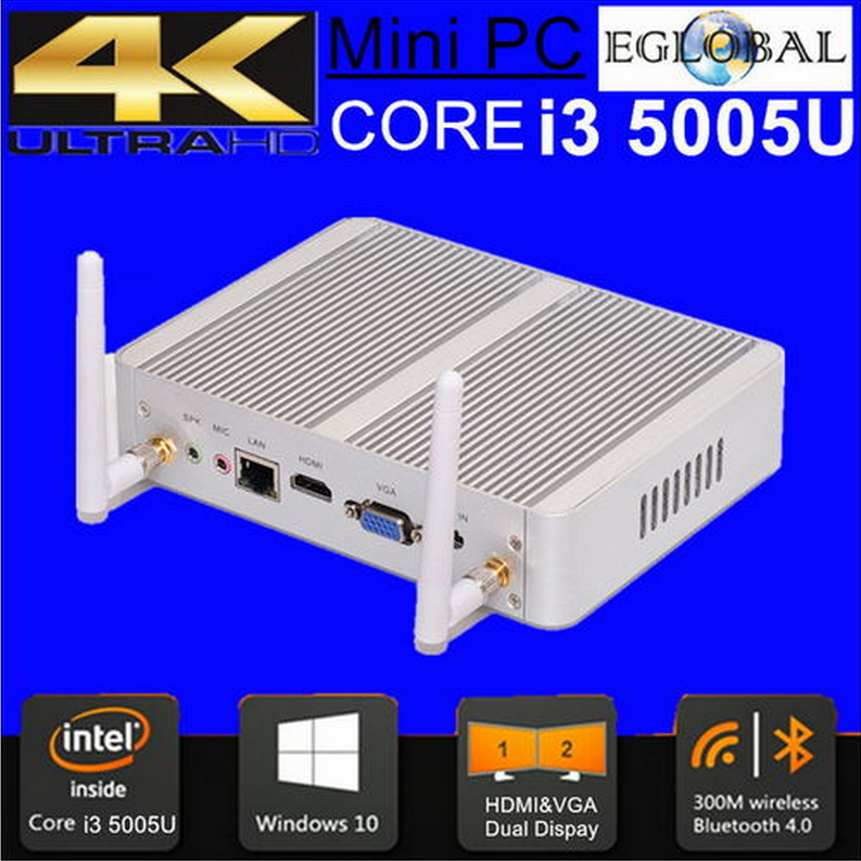 7th Generation Fanless Mini PC Windows10 with i3 7100U Intel HD Graphics620 14 nm 8G Ram 128G SSD 4K HTPC 1TB HDD