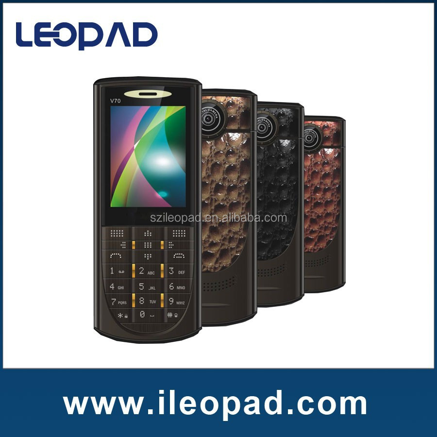 Large keypad mobile phone 2.4'' special phone with Metal body with leather