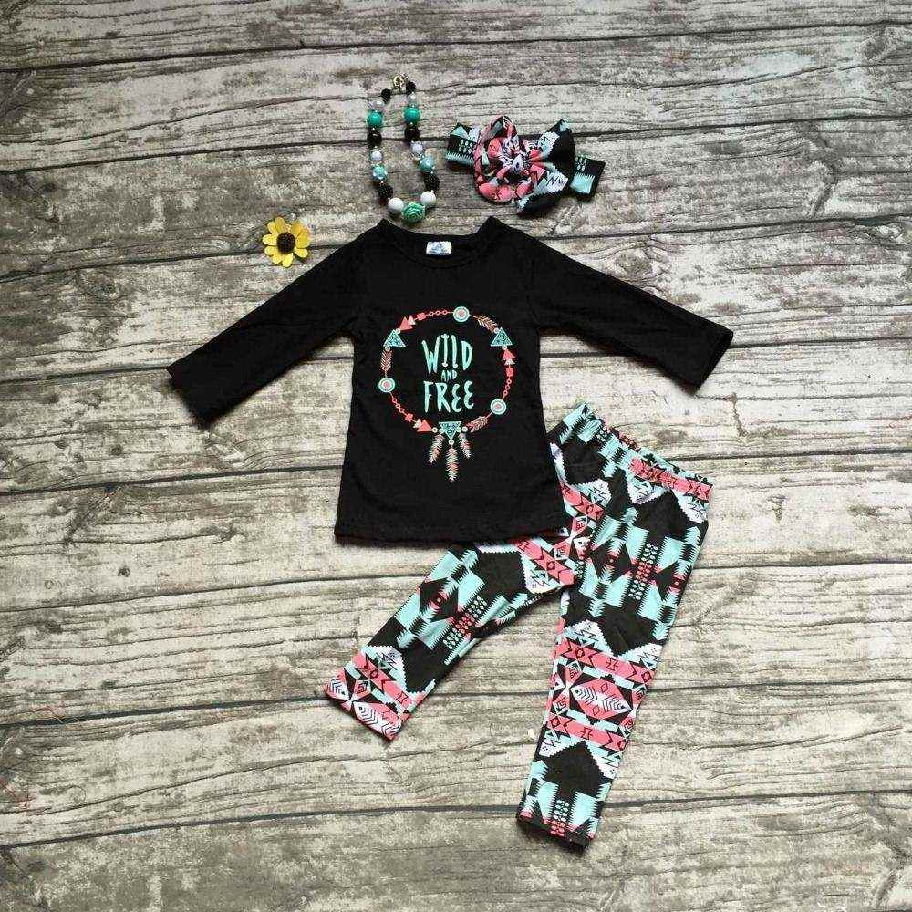 2016 girls wild free clothing babay girls Fall outfits baby girls boutiques clothing with matching accessories