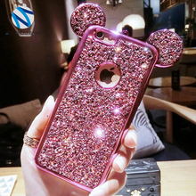 Mickey mouse Case For samsung s8 plus bling glitter diamond Rhinestone ears Soft TPU