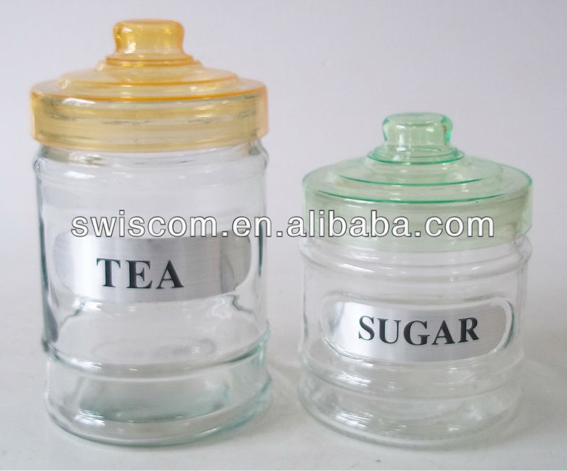 Round glass tea suger jar plastic lids