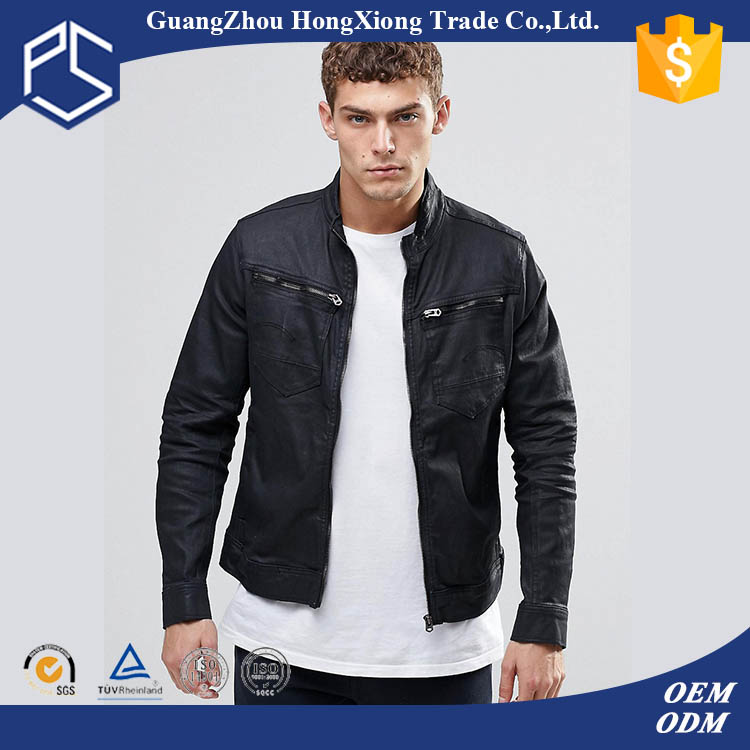 High Quality Zipper Collar Two Pocket On The Chest Black Leather Jacket