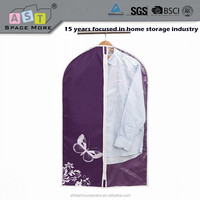 Foldable non woven fabric suit garment bag with PEVA window
