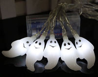 10 PCS LED Flashing Lamps white ghost String Light Festival Halloween Party Decoration