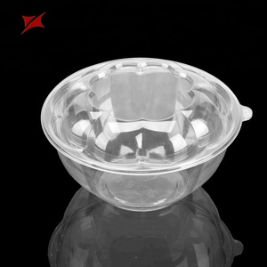 Transparent reusable take away disposable plastic salad bowl with lid