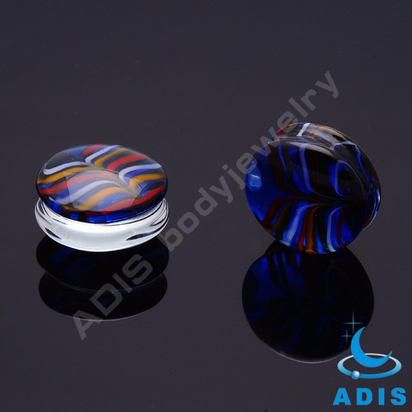 New style glass ear tunnel jewelry mixed colors ear plugs wholesale